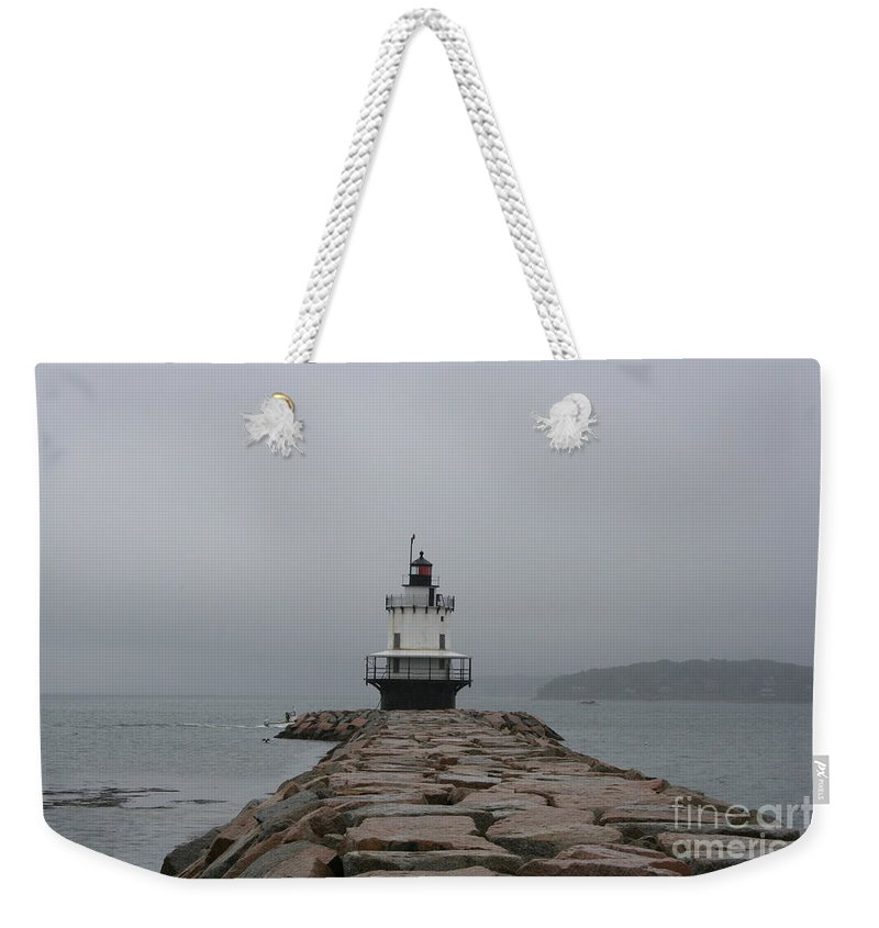 Lighthouse Weekender Tote Bag featuring the photograph Spring Point Ledge Lighthouse by Christiane Schulze Art And Photography