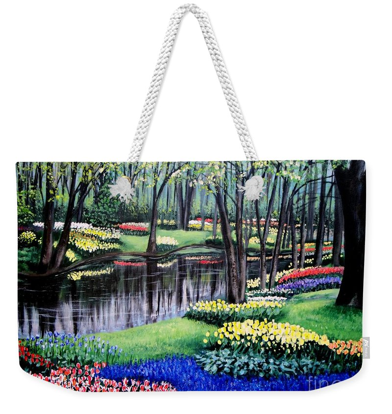 Garden Weekender Tote Bag featuring the painting Spring Spendor Tulip Garden by Patricia L Davidson