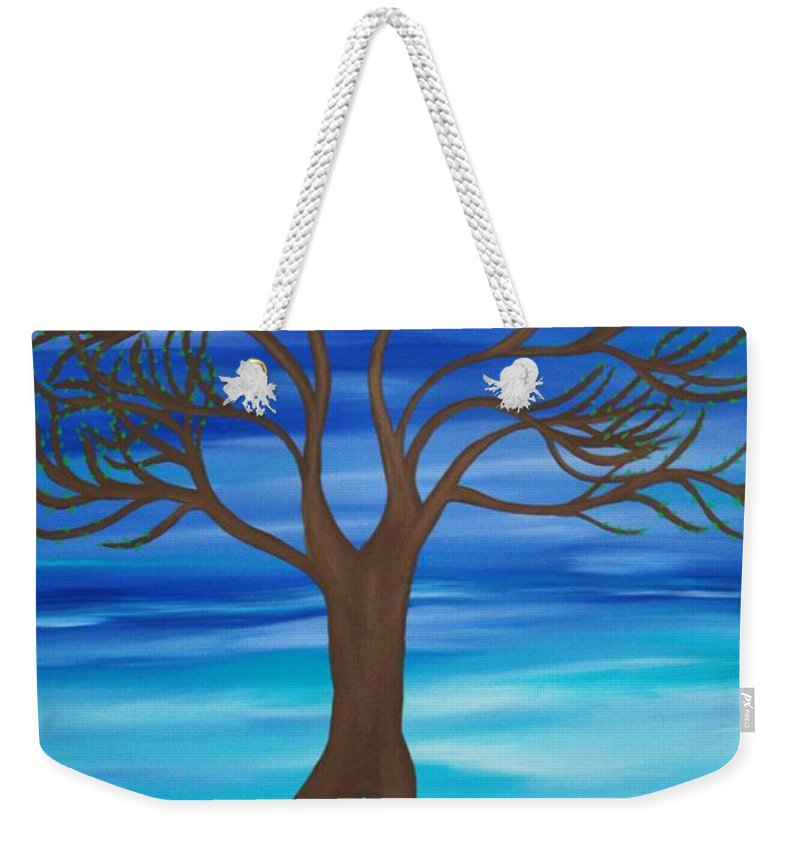 Yoga Weekender Tote Bag featuring the painting Spring Tree by Janell R Colburn
