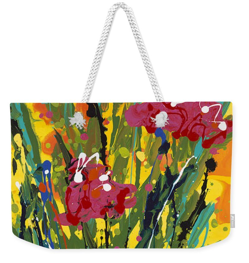 Spring Weekender Tote Bag featuring the painting Spring Tulips Triptych Panel 3 by Nadine Rippelmeyer