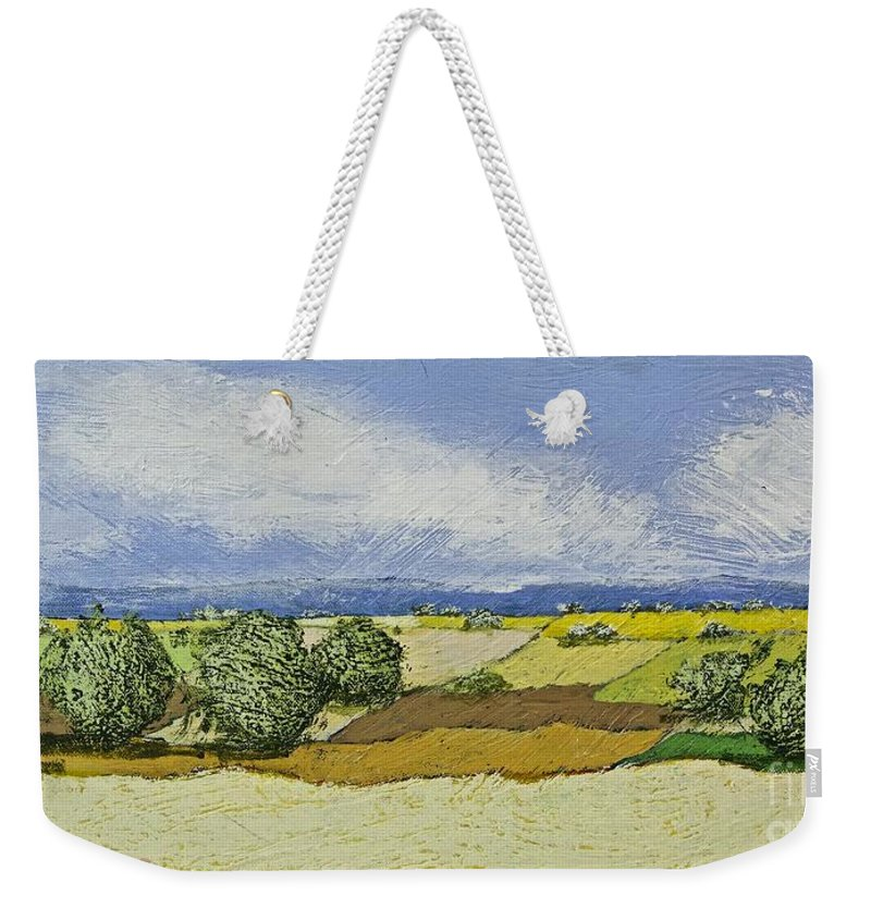 Landscape Weekender Tote Bag featuring the painting Spring Valley by Allan P Friedlander