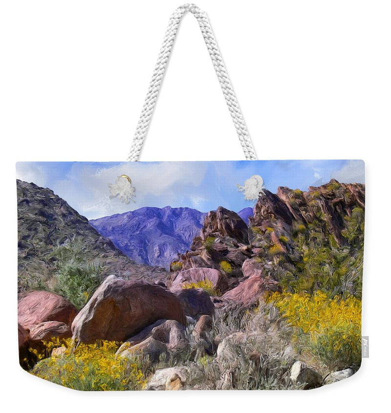 Spring Weekender Tote Bag featuring the painting Spring Wildflowers At Anza Borrego by Dominic Piperata