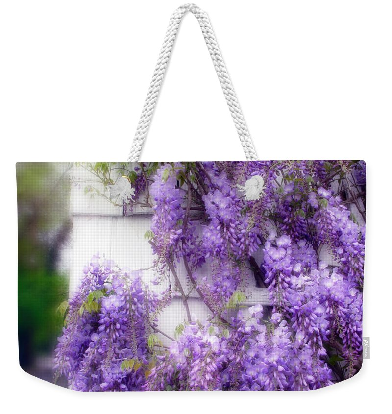 Flowers Weekender Tote Bag featuring the photograph Spring Wisteria by Jessica Jenney