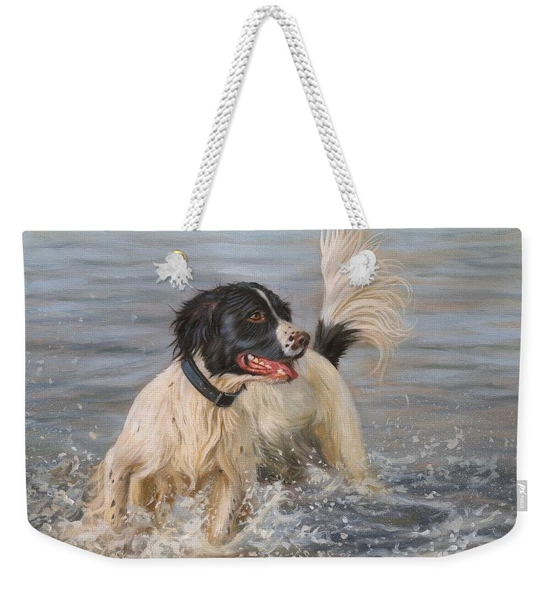Springer Weekender Tote Bag featuring the painting Springer Spaniel by David Stribbling