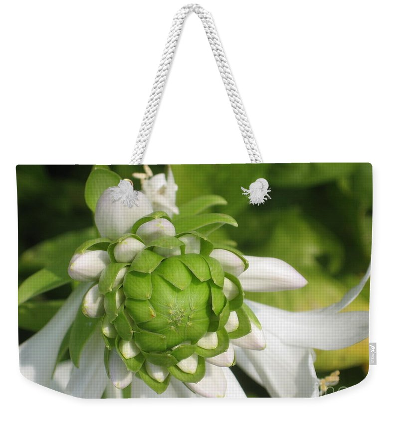 White Weekender Tote Bag featuring the photograph Springtime Bud by Ray Konopaske
