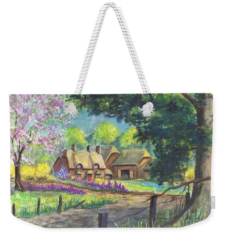 Hand Painted Weekender Tote Bag featuring the painting Springtime Cottage by Carol Wisniewski