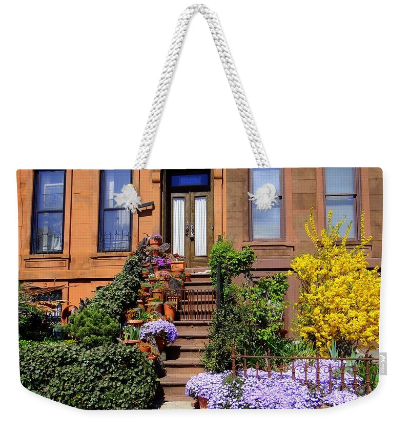 Flowers Weekender Tote Bag featuring the photograph Springtime In Brooklyn by Ed Weidman