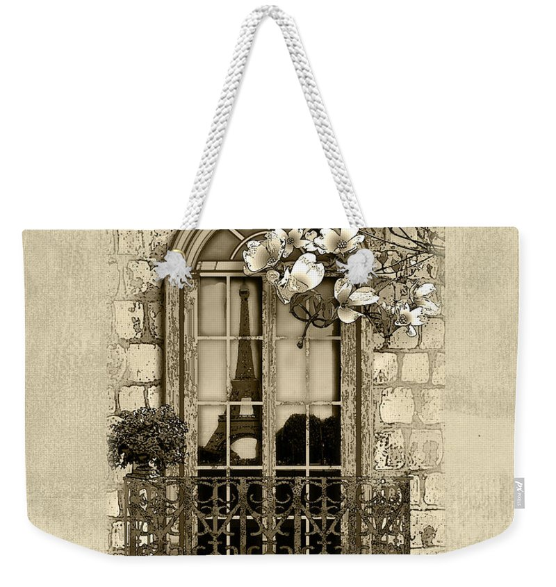 Eiffel Tower Weekender Tote Bag featuring the mixed media Springtime In Paris In Sepia by Lee Owenby
