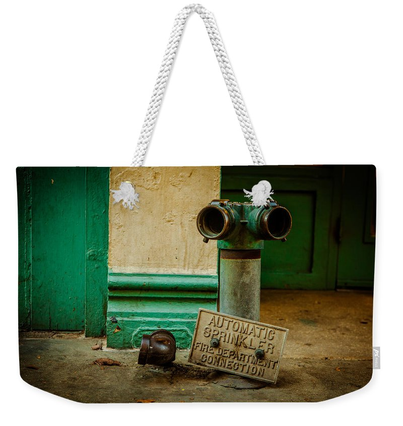 Architecture Weekender Tote Bag featuring the photograph Sprinkler Green by Melinda Ledsome