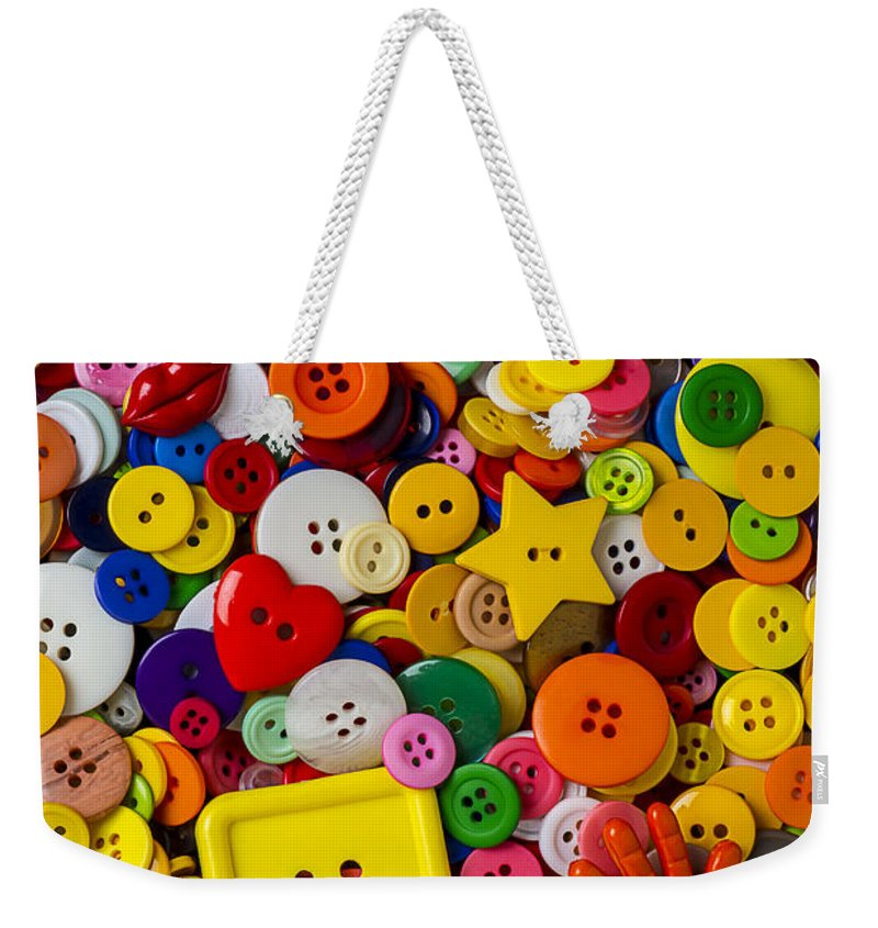 Square Button Weekender Tote Bag featuring the photograph Square Button by Garry Gay