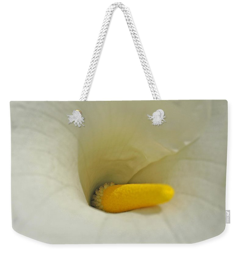 Macro Weekender Tote Bag featuring the photograph Square Calla by Tikvah's Hope