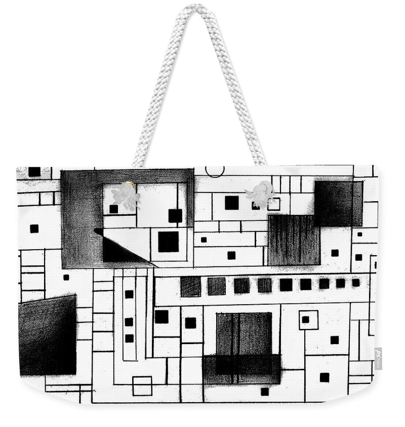 Square Weekender Tote Bag featuring the drawing Square by Mary Bedy
