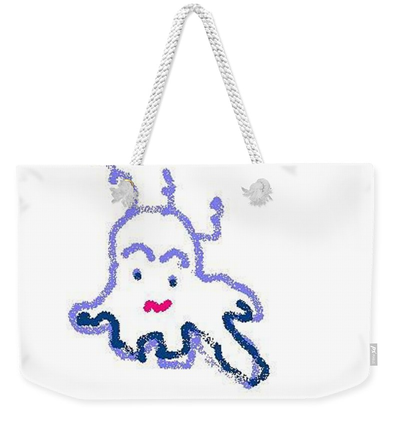 Squid Weekender Tote Bag featuring the drawing Squidders by Maria Joy