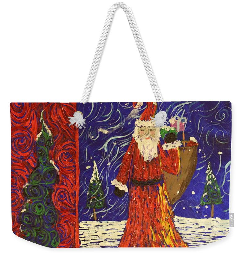 Squigglism Weekender Tote Bag featuring the painting Squiggle Christmas by Stefan Duncan