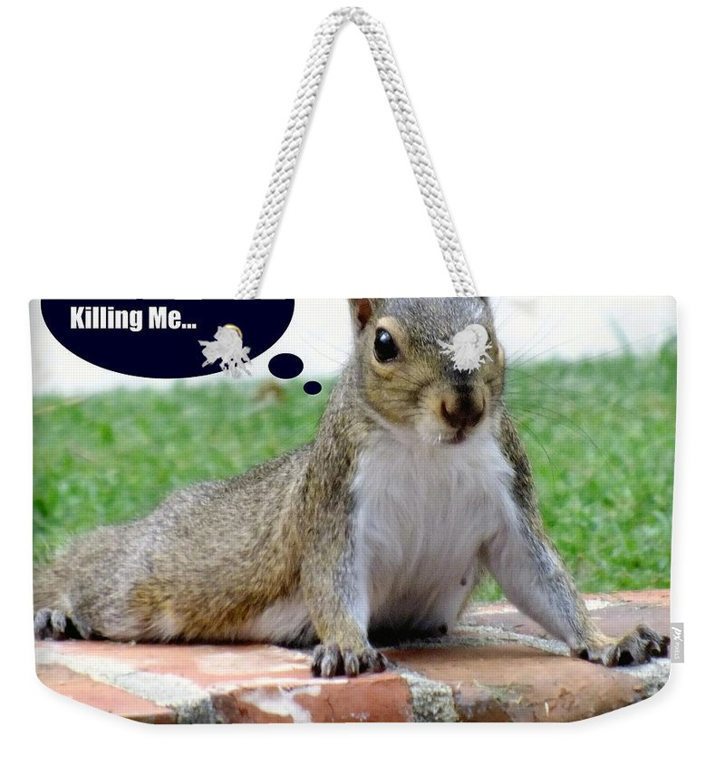 Gym Art Weekender Tote Bag featuring the photograph Squirrely Push Ups by Karen Wiles