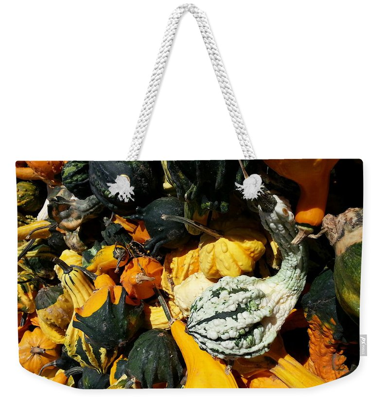 Harvest Weekender Tote Bag featuring the photograph Squish Squash by Caryl J Bohn