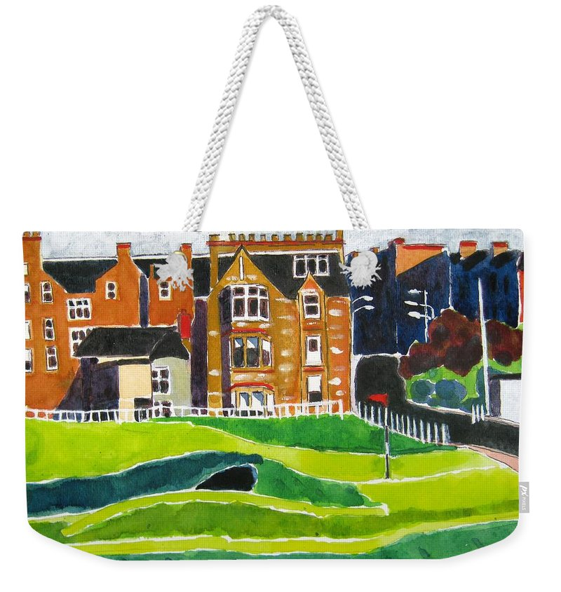 St Andrews Weekender Tote Bag featuring the painting St Andrews 17 by Lesley Giles