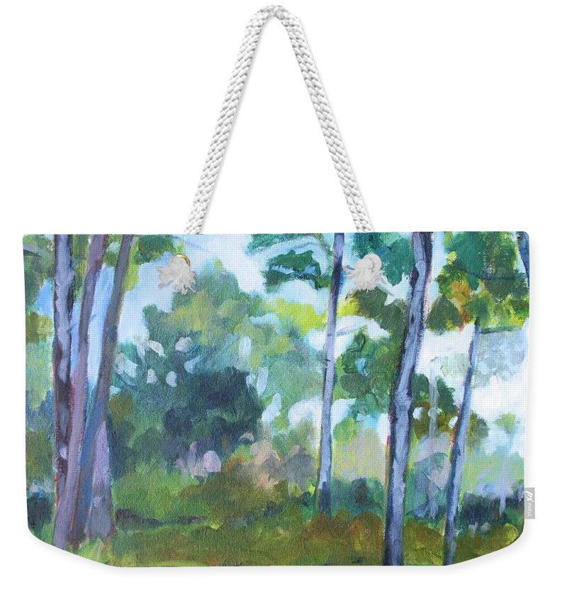 Florida Weekender Tote Bag featuring the painting St. Andrew's Park by Jan Bennicoff