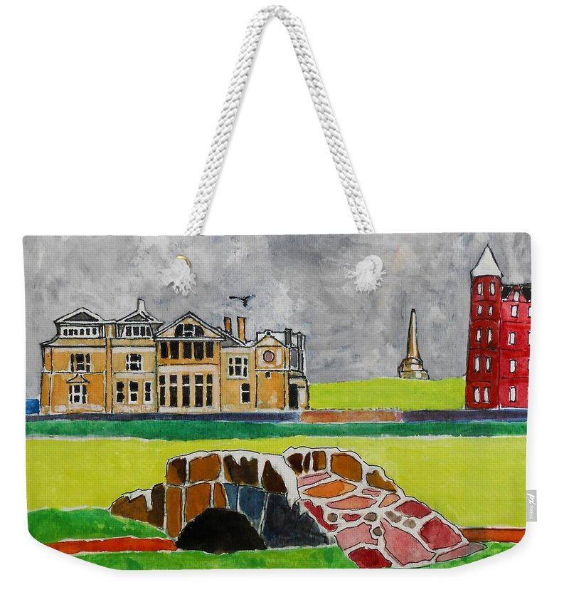 St Andrews Weekender Tote Bag featuring the painting St Andrews Swilcan Bridge by Lesley Giles