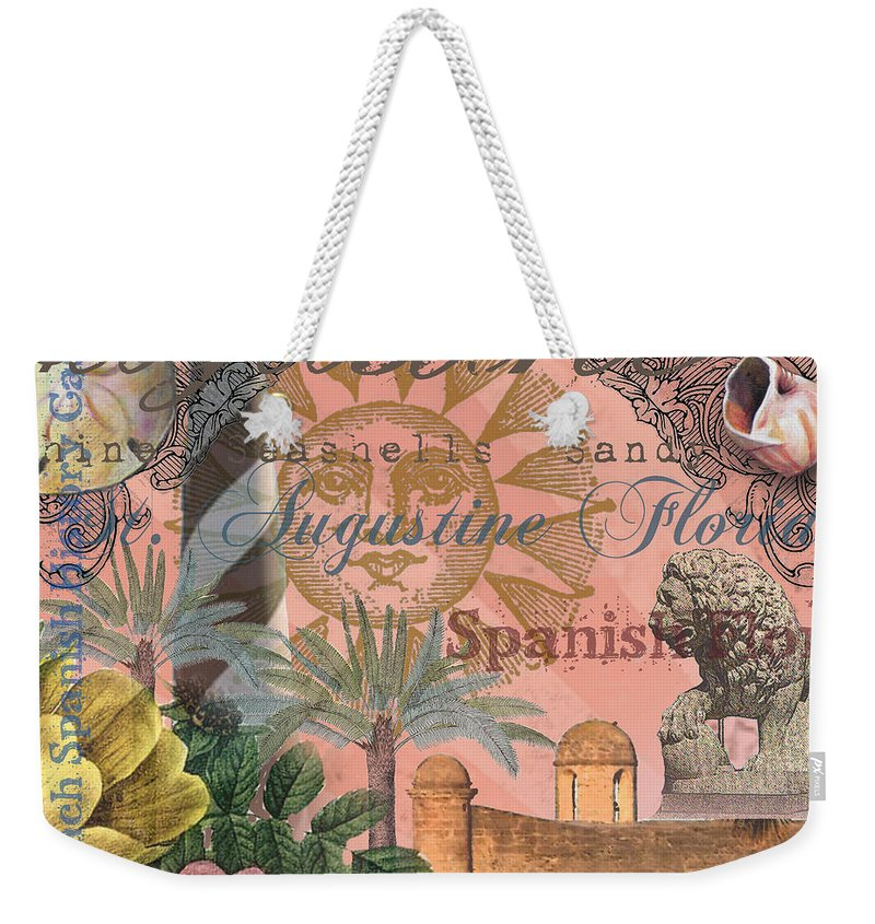 Doodlefly Weekender Tote Bag featuring the digital art St. Augustine Florida Vintage Collage by Mary Hubley
