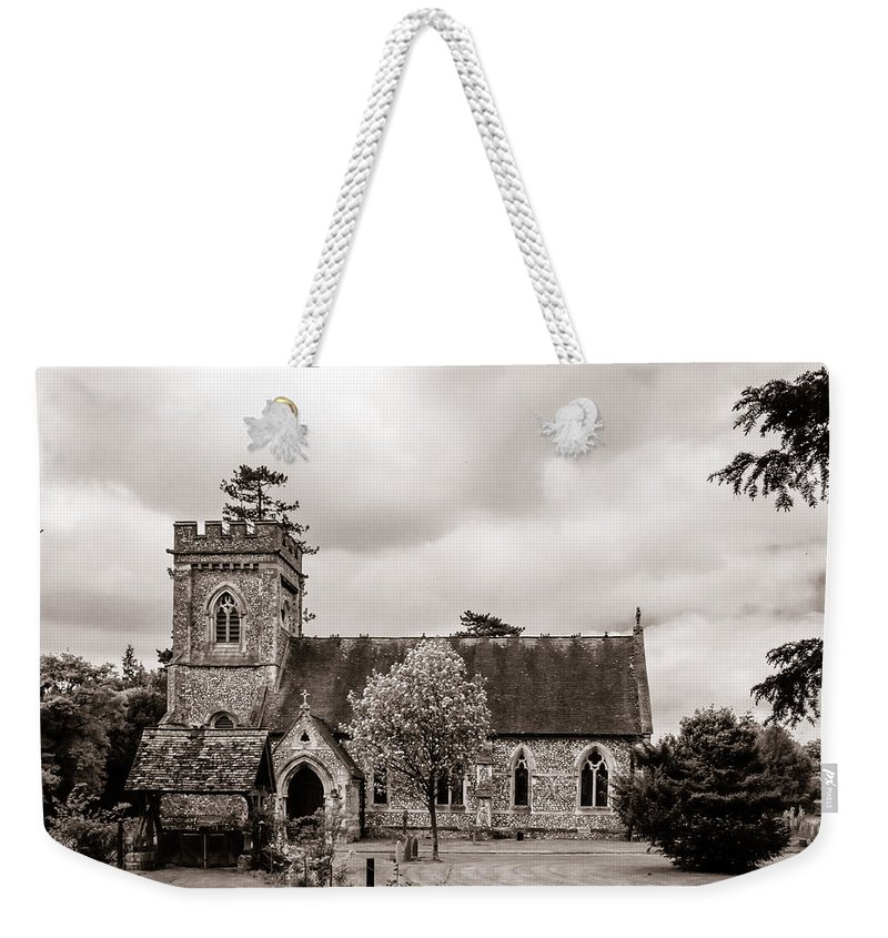 Aisle Weekender Tote Bag featuring the photograph St Barnabas Faccombe by Mark Llewellyn