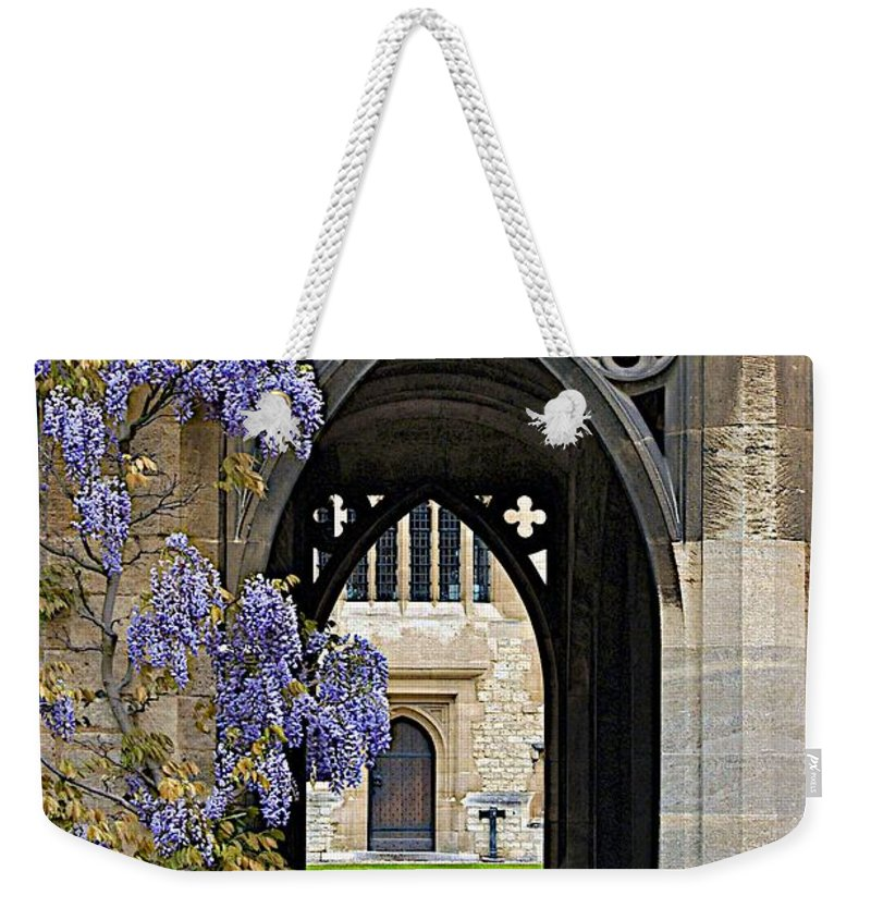 Arch Weekender Tote Bag featuring the photograph St. Cross Arches by Joseph Yarbrough
