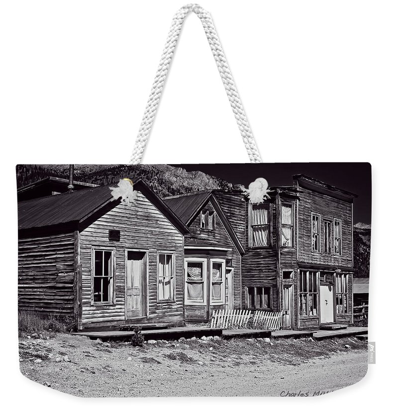 St Weekender Tote Bag featuring the photograph St Elmo In Black And White by Charles Muhle