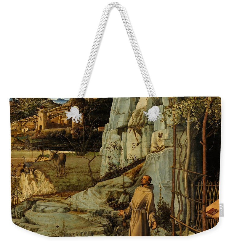 Bellini Weekender Tote Bag featuring the painting St Francis Of Assisi In The Desert by Giovanni Bellini