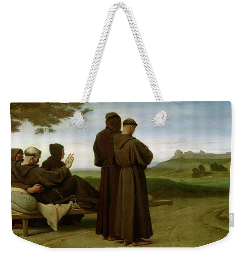 Francis Weekender Tote Bag featuring the painting Saint Francis Of Assisi, While Being Carried To His Final Resting Place At Saint-marie-des-anges by Francois Leon Benouville