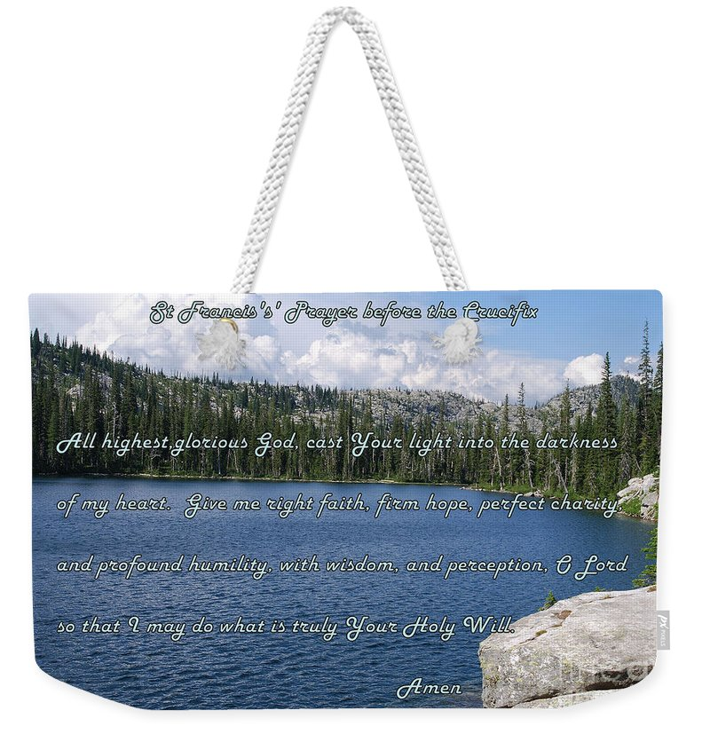 St Francis Weekender Tote Bag featuring the photograph St Francis Prayer Before The Crucifix by Sharon Elliott