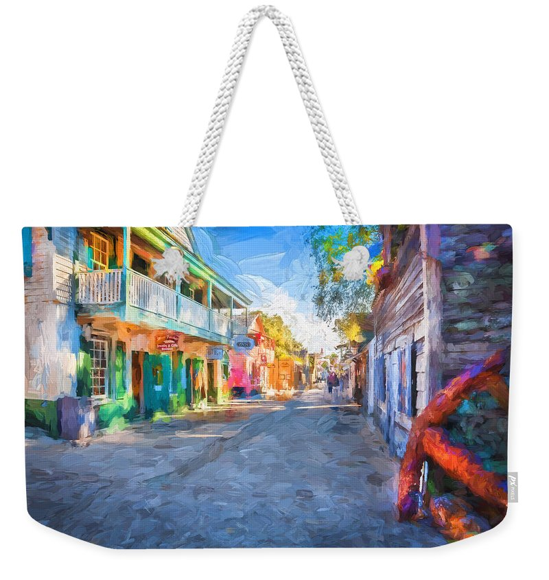 St. George Street Weekender Tote Bag featuring the photograph St George Street St Augustine Florida Painted by Rich Franco