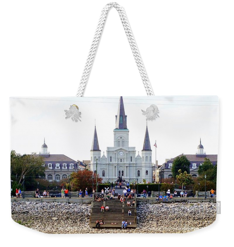 St Louis Cathedral Weekender Tote Bag featuring the photograph St Louis Cathedral by Ed Weidman