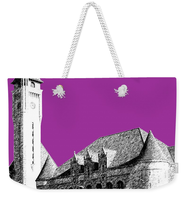 Architecture Weekender Tote Bag featuring the digital art St Louis Skyline Union Station - Plum by DB Artist