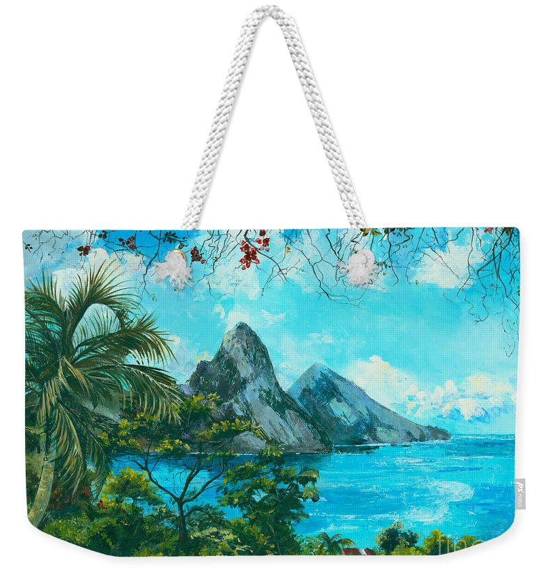 Mountains Weekender Tote Bag featuring the painting St. Lucia - W. Indies by Elisabeta Hermann