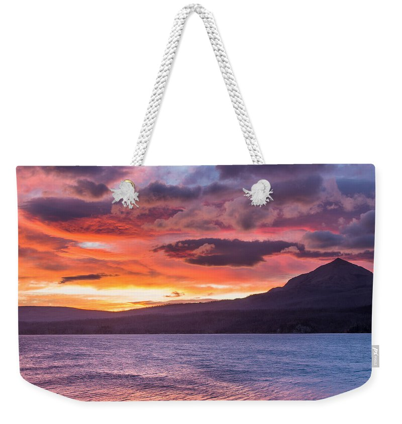 St. Mary Lake Weekender Tote Bag featuring the photograph St. Mary Lake Dawn 4 by Greg Nyquist