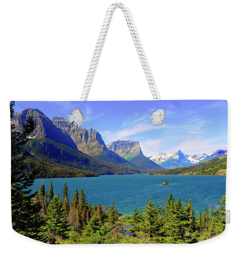 Scenics Weekender Tote Bag featuring the photograph St. Mary Lake, Glacier National Park by Dennis Macdonald