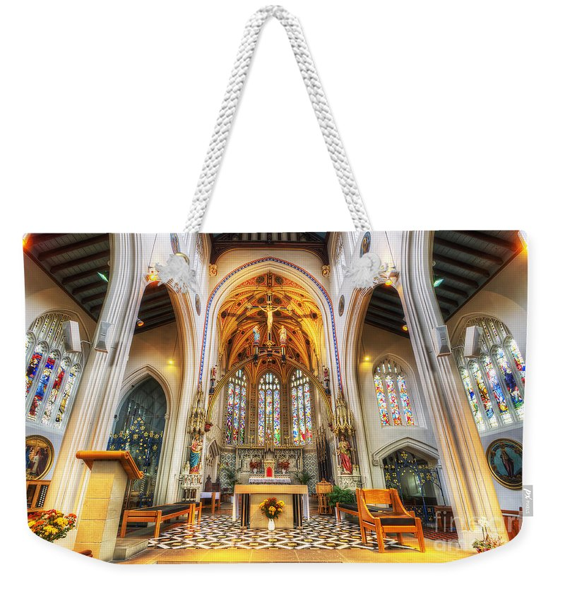 Yhun Suarez Weekender Tote Bag featuring the photograph St Mary's Catholic Church - The Altar by Yhun Suarez