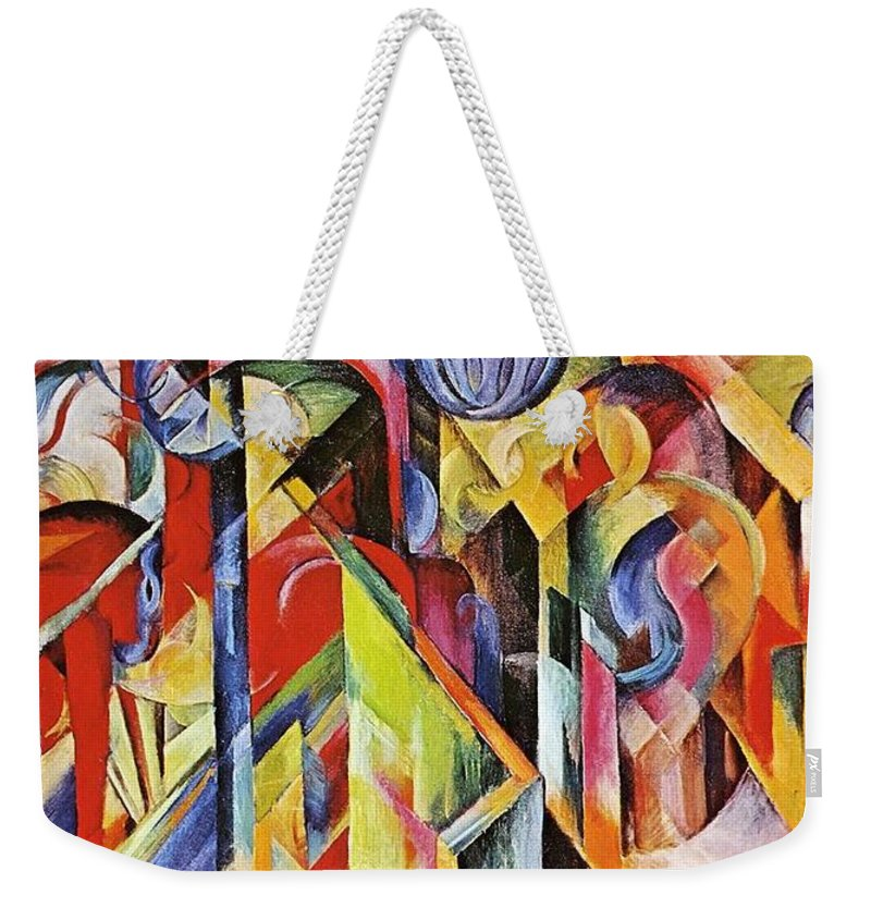 Franz Weekender Tote Bag featuring the painting Stables 1913 by Franz Marc