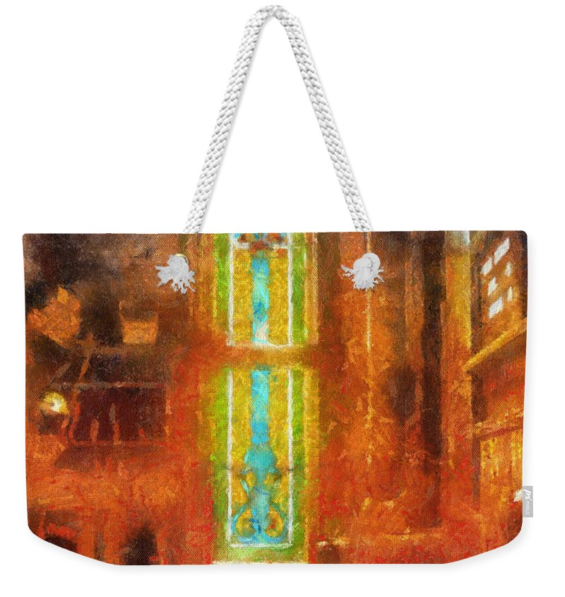 Religious Weekender Tote Bag featuring the photograph Stained Glass 05 Photo Art by Thomas Woolworth