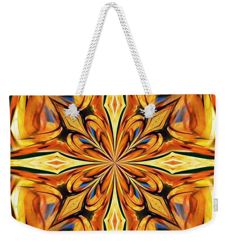 stained Glass Weekender Tote Bag featuring the digital art Stained Glass Abstract by Sharon Woerner
