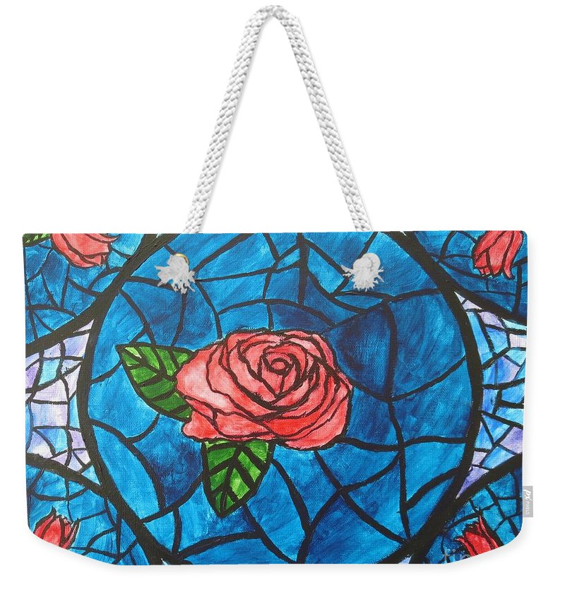 Rose Weekender Tote Bag featuring the painting Stained Glass Roses by CE Dill