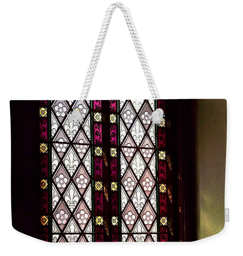 Stained Glass Window In Saint Paul's Episcopal Church-1882 Weekender Tote Bag featuring the photograph Stained Glass Window In Saint Paul's Episcopal Church-1882 In Tombstone-az by Ruth Hager