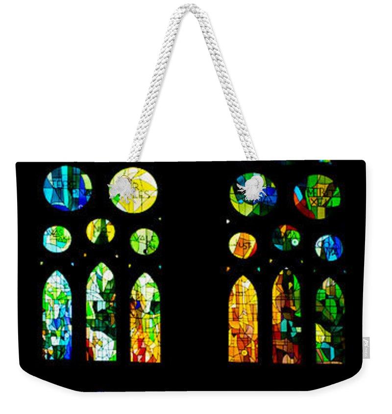 Sagrada Familia Weekender Tote Bag featuring the photograph Stained Glass Windows - Sagrada Familia Barcelona Spain by Georgia Mizuleva