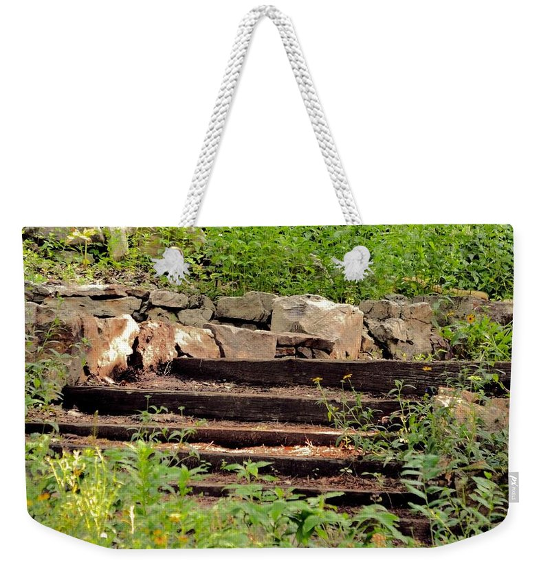 Staircase In The Forestburgeon Weekender Tote Bag featuring the photograph Staircase In The Forest by Maria Urso