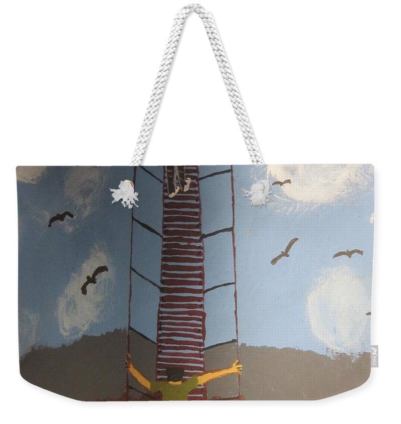 Blue Weekender Tote Bag featuring the painting Stairway To Heaven by Jeffrey Koss