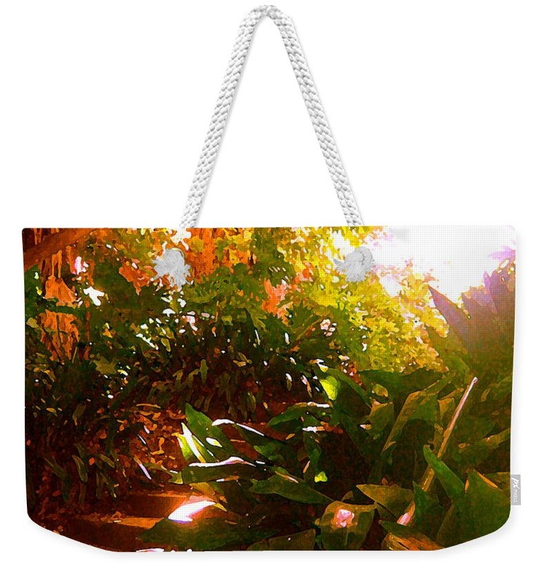 Landscapes Weekender Tote Bag featuring the painting Stairway To The Top by Amy Vangsgard