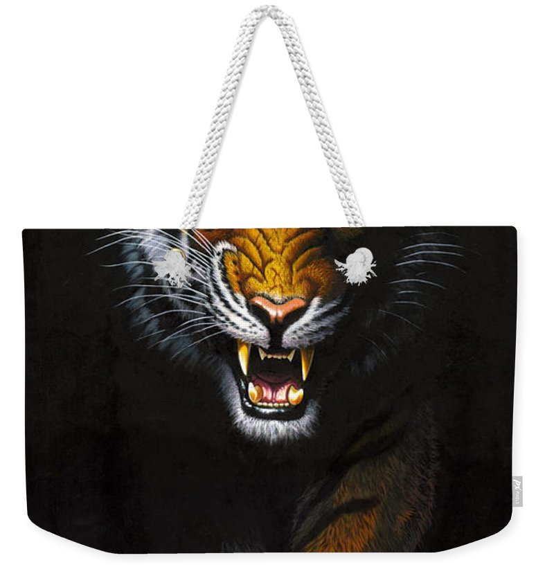 Tiger Weekender Tote Bag featuring the photograph Stalking Tiger by MGL Studio - Chris Hiett