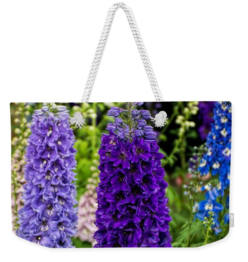 Delphinium Weekender Tote Bag featuring the photograph Stand Tall by Peggy Hughes