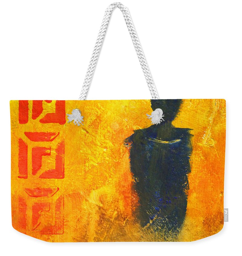 Abstract Figure Weekender Tote Bag featuring the painting Standing Alone by Nancy Merkle