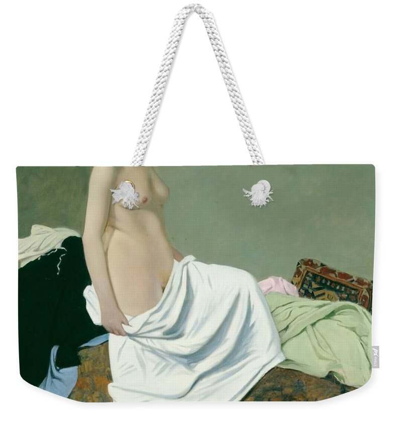 Nude Weekender Tote Bag featuring the painting Standing Nude Holding A Gown On Her Knee by Felix Edouard Vallotton